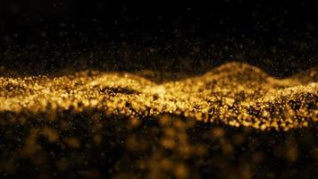 particelle d'onda di colore dorato di trasformazione digitale astratta foto