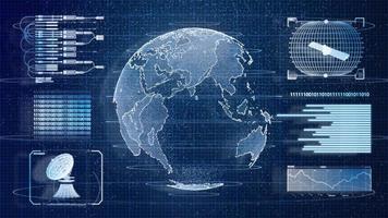 ologramma di scansione delle informazioni sul mondo della terra hud digitale blu foto