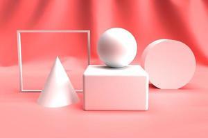 forma geometrica astratta 3d impostata su colore rosa foto