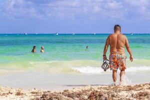 spiaggia tropicale messicana 88 punta esmeralda playa del carmen messico. foto
