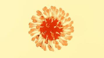 cellula di gelatina di coronavirus arancione su sfondo giallo foto