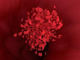 il globulo rosso scorre nel vaso sanguigno del corpo. rendering 3D. foto