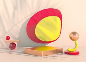 podio con ombre di foglie di palma per la presentazione di prodotti cosmetici. sfondo piedistallo vetrina vuota mock up. rendering 3D. foto