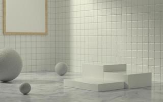 Fase del prodotto 3D nella scena del bagno con la luce del sole del mattino foto