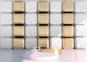 scena minimale con forme geometriche, podi in fondo crema con ombre. scena per mostrare prodotto cosmetico, vetrina, vetrina, vetrina. 3d foto