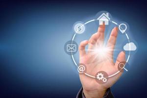 tecnologia e icona connessione di rete globale del cliente. foto