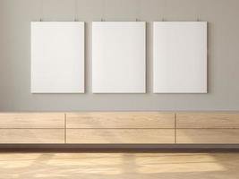 interni minimalisti del rendering 3d del soggiorno moderno foto