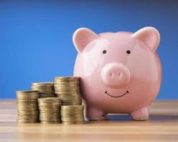elementi finanziari con salvadanaio rosa foto