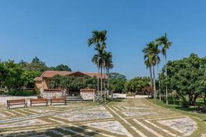 molte case nel parco sono circondate da alberi verdi foto