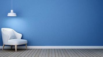 tono blu del soggiorno in appartamento o in casa foto