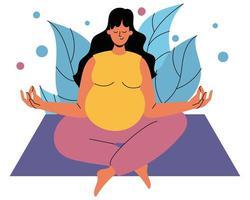 una donna incinta è seduta su un tappeto nella posizione del loto. una donna incinta è seduta con gli occhi chiusi sullo sfondo del fogliame. il concetto di armonia, tranquillità e salute mentale foto