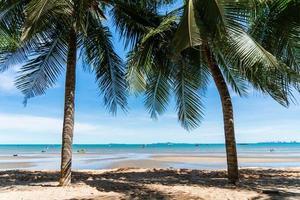 albero di cocco e spiaggia paesaggistica con cielo blu per le vacanze estive foto