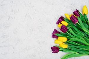 bouquet di fiori di tulipano primaverile giallo e viola su uno sfondo di pietra chiara. posa piatta. copia spazio. festa della mamma. giornata internazionale della donna. foto