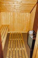 decorazione d'interni vacanza cottage. tipica sauna in legno in norvegia foto