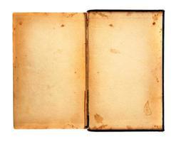 vecchio libro sgangherato e stracciato degli anni '20 aperto foto