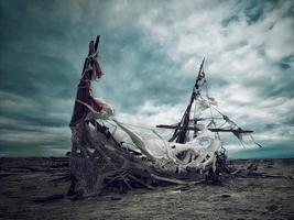 naufragio sulla spiaggia di bombay del mare di salton california foto