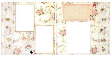layout di pagina di carta scrapbook fatto a mano per inserire le tue immagini foto