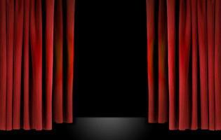 elegante palcoscenico teatrale con tende di velluto rosso foto