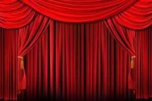 palcoscenico in un'illuminazione drammatica rossa brillante foto