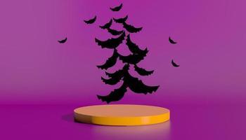 podio e sfondo astratto minimo per halloween, forma geometrica di rendering 3d. illustrazione 3D foto