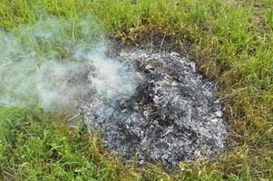 un falò con piante secche sta bruciando su un terreno con fuoco e fumo foto