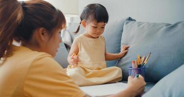 felice allegra famiglia asia mamma insegna alla ragazza dipingere usa album e matite colorate divertendosi rilassati sul divano nel soggiorno di casa. passare del tempo insieme, distanza sociale, quarantena per il coronavirus. foto