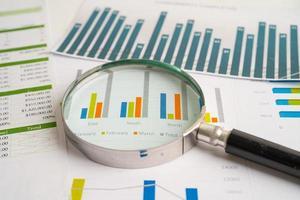 lente di ingrandimento su carta millimetrata grafici. sviluppo finanziario, conto bancario, statistiche, economia dei dati di ricerca analitica degli investimenti, negoziazione di borsa, concetto di riunione aziendale dell'ufficio commerciale. foto