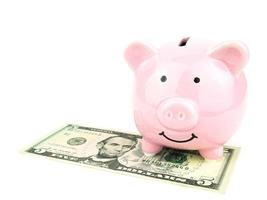 salvadanaio rosa su dollari banconota isolati su sfondo bianco, concetto di risparmio foto