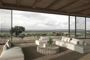 soggiorno open space dal design moderno d'interni. ampie finestre e vista sulla natura. illustrazione di rendering 3D. foto