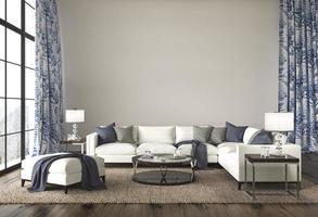soggiorno di design costiero. mock up muro bianco in un accogliente sfondo interno di casa. illustrazione di rendering 3d di stile hampton. foto