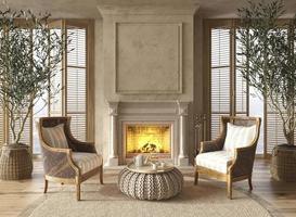 interno soggiorno in stile casa colonica scandinavo con camino e ampie finestre. finto muro. illustrazione di rendering 3D. foto