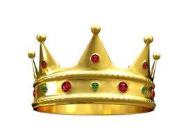 Corona d'oro realistica 3d. isolato su sfondo bianco. foto