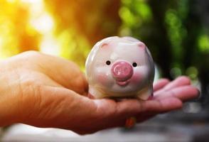 salvadanaio risparmia denaro, risparmia denaro, salvadanaio e pila di soldi al sicuro foto