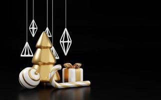 banner di rendering 3d di Natale di lusso o biglietto di auguri. moderno minimal nuovo anno e natale oro e decorazioni nere con albero, caramelle, palla, confezione regalo su sfondo nero foto