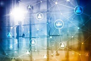 struttura di rete di persone a doppia esposizione hr - gestione delle risorse umane e concetto di reclutamento. foto