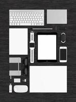 vista dall'alto del modello di modello di tecnologia per l'identità del marchio foto
