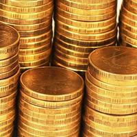 macro della pila dei soldi dell'oro