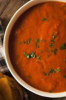 zuppa di pomodoro fatta in casa con formaggio grigliato foto
