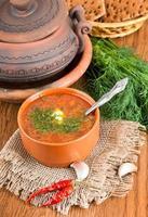 borsch, zuppa di barbabietola e cavolo con salsa di pomodoro. foto