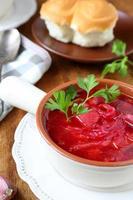 zuppa di pomodoro rosso con zuppiera foto