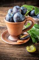 prugne fresche succose con foglie in una pentola di ceramica su foto