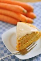 Torta di carote con crema di formaggio glassa foto