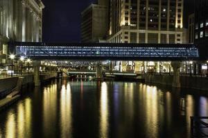 paesaggio urbano di Milwaukee - passerella del fiume del centro foto