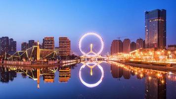 panorama della ruota panoramica di Tianjin