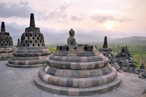 Buddha nel tempio di borobudur sull'isola di java