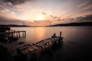 Bosforo a lunga esposizione al tramonto foto