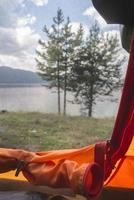 vista dall'interno della tenda. foto