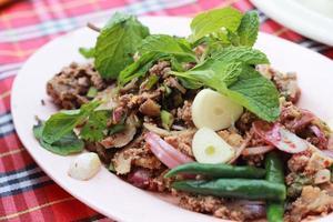 Insalata piccante di anatra tritata con verdure verdi e peperoni. foto