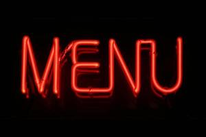 insegna al neon del menu