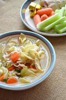 zuppa di spaghetti di pollo e ingredienti